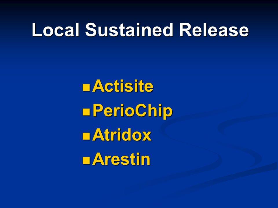 Local Sustained Release Actisite Actisite PerioChip PerioChip Atridox Atridox Arestin Arestin
