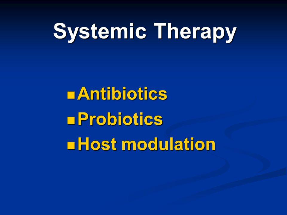 Systemic Therapy Antibiotics Antibiotics Probiotics Probiotics Host modulation Host modulation