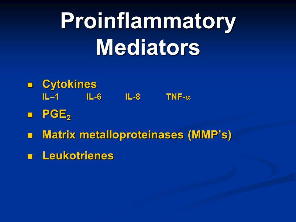 Proinflammatory Mediators Cytokines Cytokines IL–1IL-6 IL-8 TNF- IL–1IL-6 IL-8 TNF- PGE 2 PGE 2 Matrix metalloproteinases (MMPs) Matrix metalloprotein