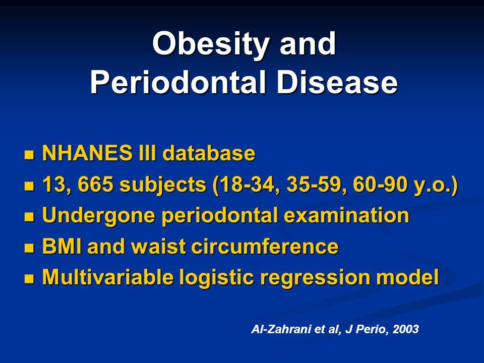 Obesity and Periodontal Disease NHANES III database NHANES III database 13, 665 subjects (18-34, 35-59, 60-90 y.o.) 13, 665 subjects (18-34, 35-59, 60
