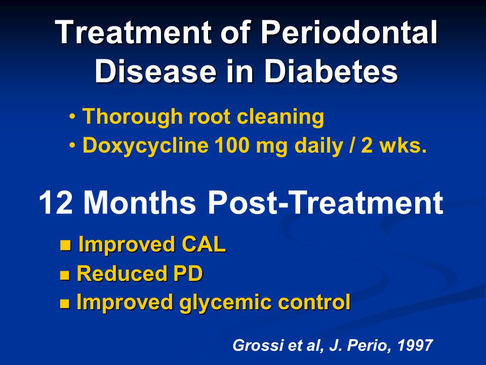 Treatment of Periodontal Disease in Diabetes Thorough root cleaning Doxycycline 100 mg daily / 2 wks. 12 Months Post-Treatment Improved CAL Improved C