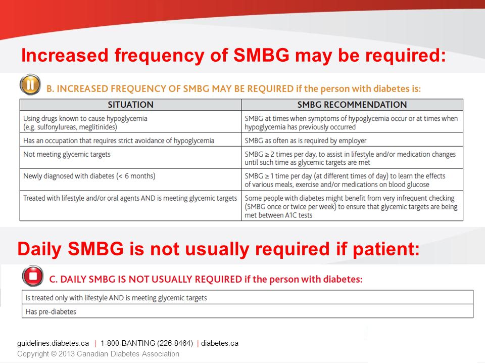 guidelines.diabetes.ca | 1-800-BANTING (226-8464) | diabetes.ca Copyright © 2013 Canadian Diabetes Association Increased frequency of SMBG may be requ