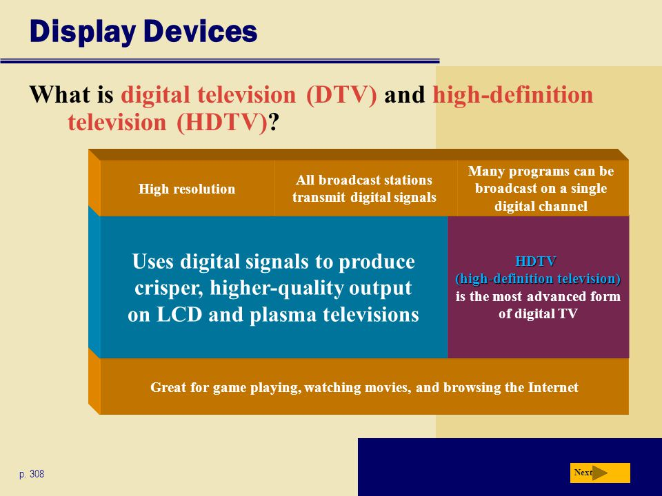 Great for game playing, watching movies, and browsing the Internet HDTV (high-definition television) HDTV (high-definition television) is the most advanced form of digital TV Display Devices What is digital television (DTV) and high-definition television (HDTV).