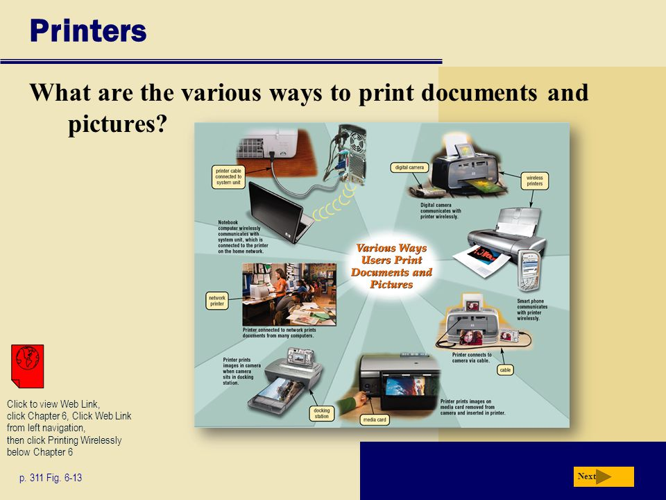 Printers What are the various ways to print documents and pictures.