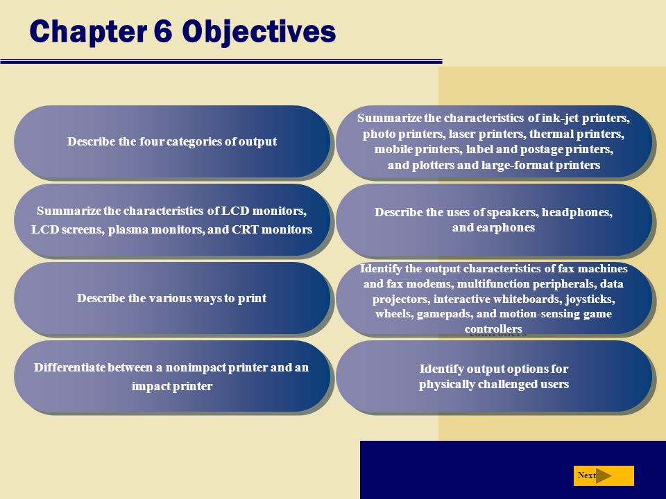 Chapter 6 Objectives Describe the four categories of output Summarize the characteristics of LCD monitors, LCD screens, plasma monitors, and CRT monitors Describe the various ways to print Differentiate between a nonimpact printer and an impact printer Describe the uses of speakers, headphones, and earphones Identify the output characteristics of fax machines and fax modems, multifunction peripherals, data projectors, interactive whiteboards, joysticks, wheels, gamepads, and motion-sensing game controllers Identify output options for physically challenged users Next Summarize the characteristics of ink-jet printers, photo printers, laser printers, thermal printers, mobile printers, label and postage printers, and plotters and large-format printers