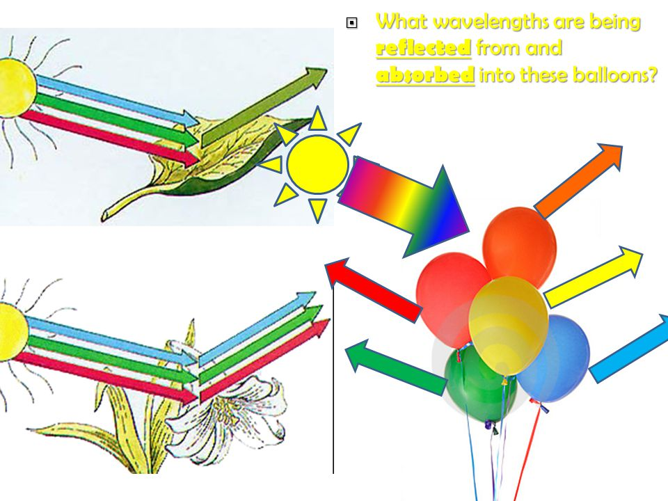 What wavelengths are being reflected from and absorbed into these balloons.