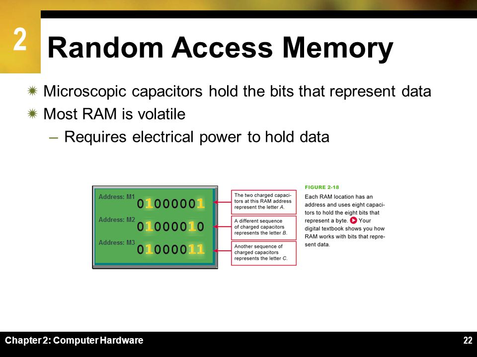 2 Chapter 2: Computer Hardware22 Random Access Memory Microscopic capacitors hold the bits that represent data Most RAM is volatile –Requires electric