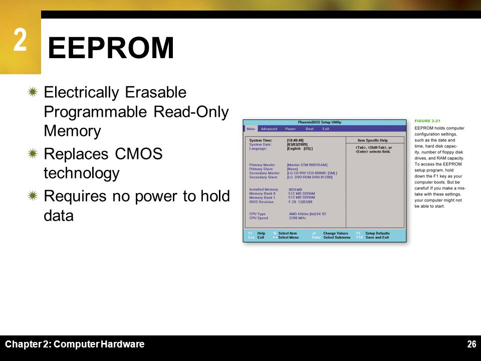 2 Chapter 2: Computer Hardware26 EEPROM Electrically Erasable Programmable Read-Only Memory Replaces CMOS technology Requires no power to hold data