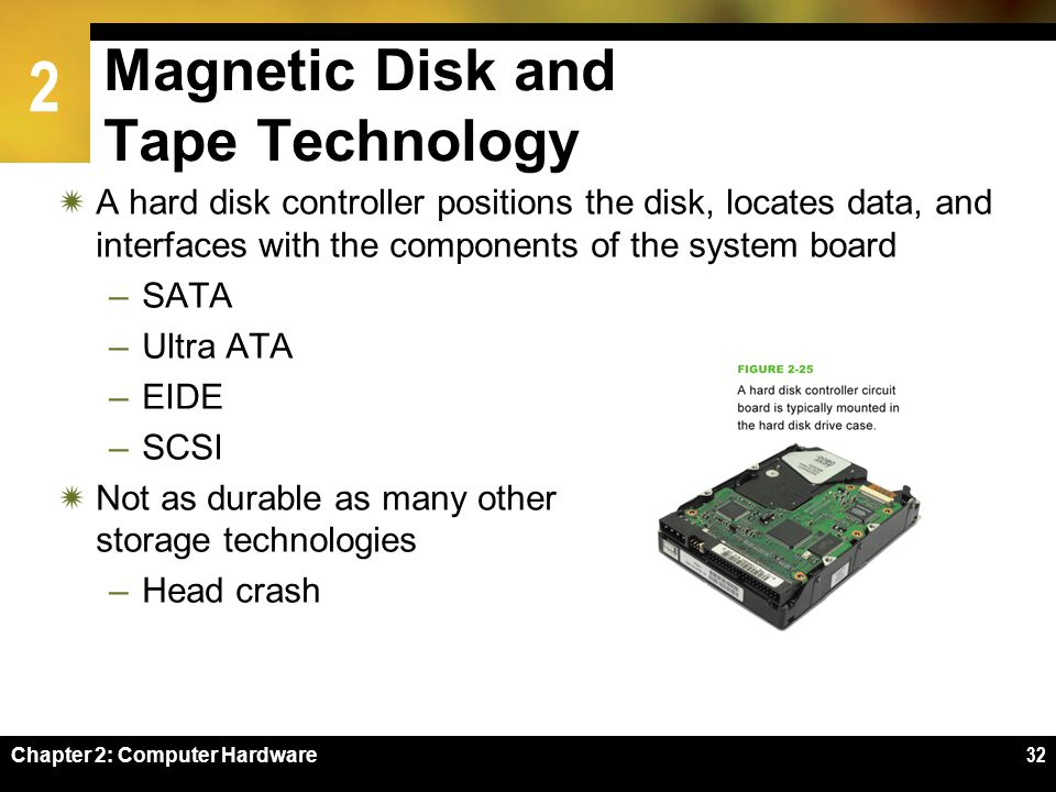 2 Chapter 2: Computer Hardware32 A hard disk controller positions the disk, locates data, and interfaces with the components of the system board –SATA