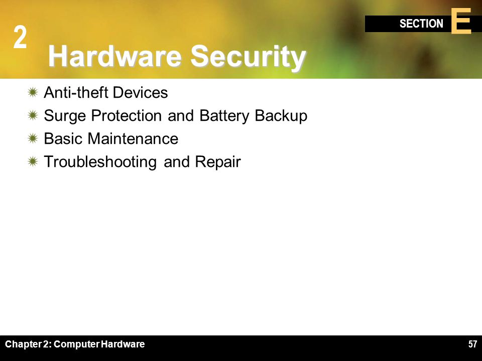 2 SECTION E Chapter 2: Computer Hardware57 Hardware Security Anti-theft Devices Surge Protection and Battery Backup Basic Maintenance Troubleshooting