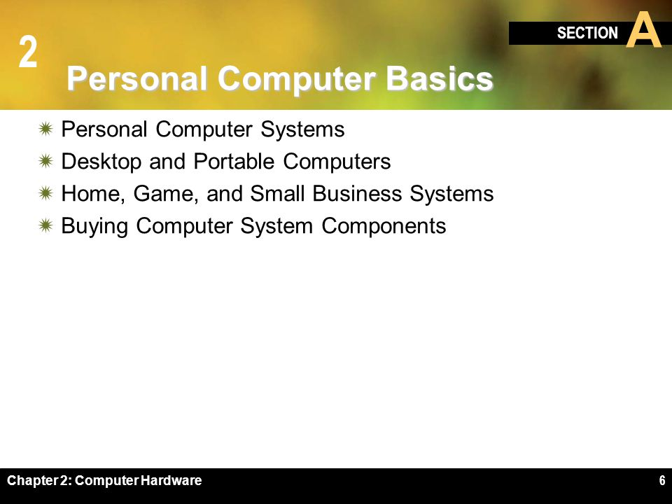 2 SECTION A Chapter 2: Computer Hardware6 Personal Computer Basics Personal Computer Systems Desktop and Portable Computers Home, Game, and Small Busi