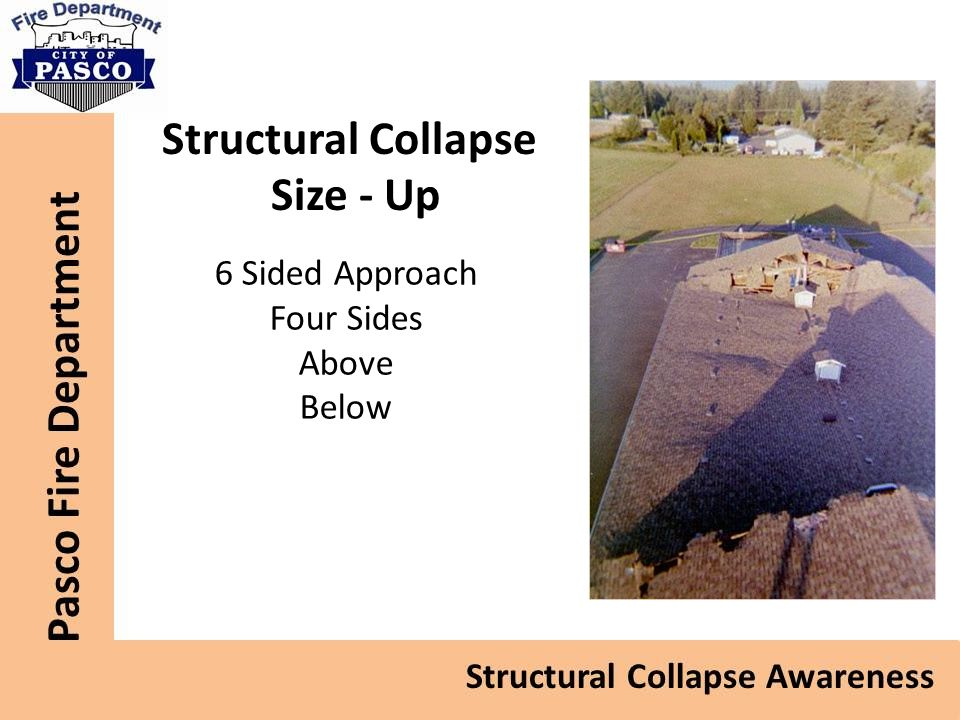 Size - Up 6 Sided Approach Four Sides Above Below Structural Collapse