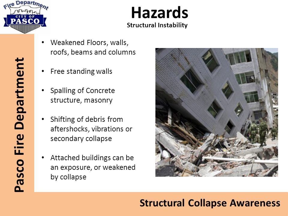 Hazards Structural Instability Weakened Floors, walls, roofs, beams and columns Free standing walls Spalling of Concrete structure, masonry Shifting of debris from aftershocks, vibrations or secondary collapse Attached buildings can be an exposure, or weakened by collapse
