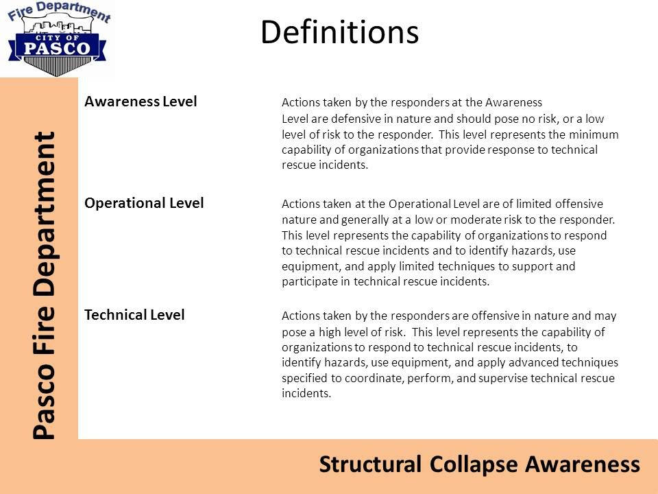 Definitions Awareness Level Actions taken by the responders at the Awareness Level are defensive in nature and should pose no risk, or a low level of risk to the responder.