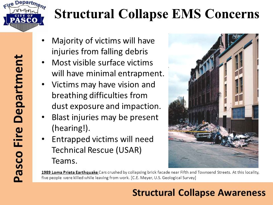Structural Collapse EMS Concerns Majority of victims will have injuries from falling debris Most visible surface victims will have minimal entrapment.