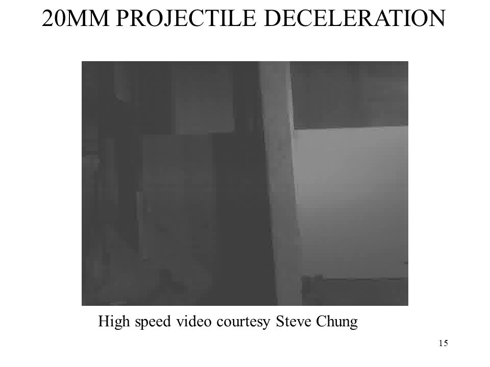 15 20MM PROJECTILE DECELERATION High speed video courtesy Steve Chung