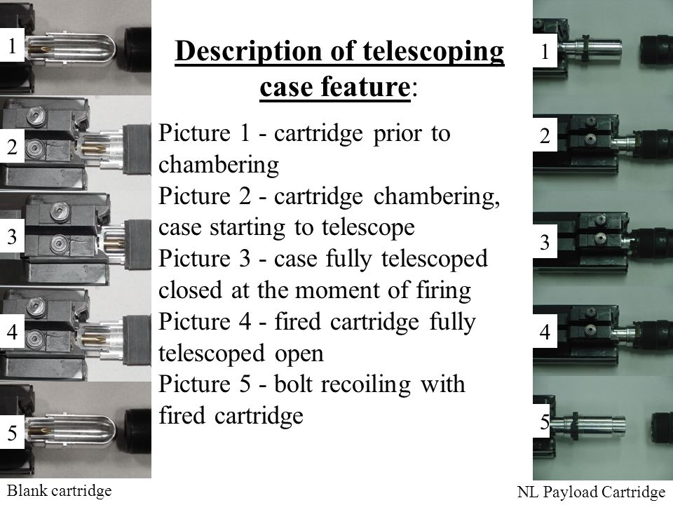 Description of telescoping case feature: Picture 1 - cartridge prior to chambering Picture 2 - cartridge chambering, case starting to telescope Picture 3 - case fully telescoped closed at the moment of firing Picture 4 - fired cartridge fully telescoped open Picture 5 - bolt recoiling with fired cartridge Blank cartridge NL Payload Cartridge