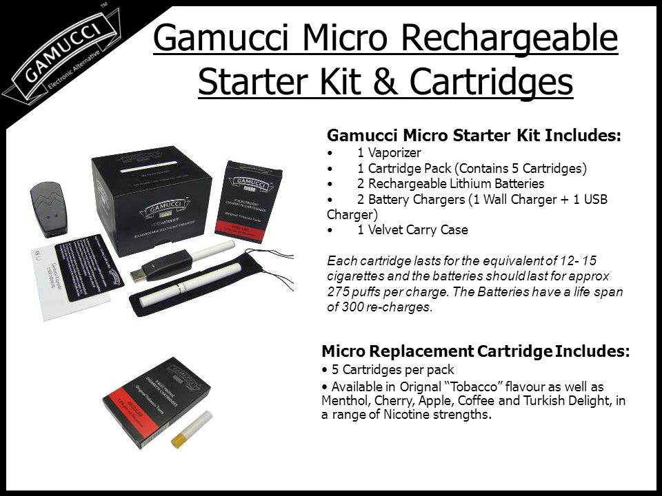 Gamucci Classic Rechargeable Starter Kit & Cartridges Gamucci Classic Starter Kit Includes: 1 Vaporizer 1 Cartridge Pack (Contains 5 Cartridges) 2 Rechargeable Lithium Batteries 2 Battery Chargers (1 Wall Charger + 1 USB Charger) 1 Velvet Carry Case Each cartridge lasts for the equivalent of 20 cigarettes and the batteries should last for approx 350 puffs per charge.