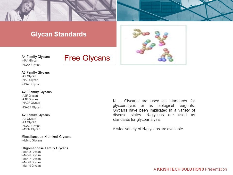 Glycan Standards Free Glycans A4 Family Glycans -NA4 Glycan -NGA4 Glycan A3 Family Glycans -A3 Glycan -NA3 Glycan -NGA3 Glycan A2F Family Glycans -A2F Glycan -A1F Glycan -NA2F Glycan NGA2F Glycan A2 Family Glycans -A2 Glycan -A1 Glycan -NGA2 Glycan -M3N2 Glycan Miscellaneous N-Linked Glycans -Hybrid Glycans Oligomannose Family Glycans -Man-5 Glycan -Man-6 Glycan -Man-7 Glycan -Man-8 Glycan -Man-9 Glycan N – Glycans are used as standards for glycoanalysis or as biological reagents.