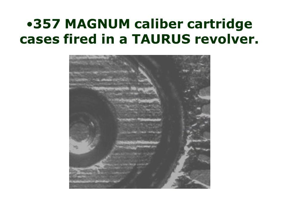 38 SUPER AUTO cartridge cases fired in a COLT pistol.