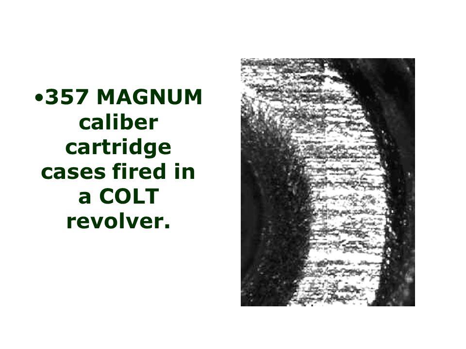 357 MAGNUM caliber cartridge cases fired in a TAURUS revolver.