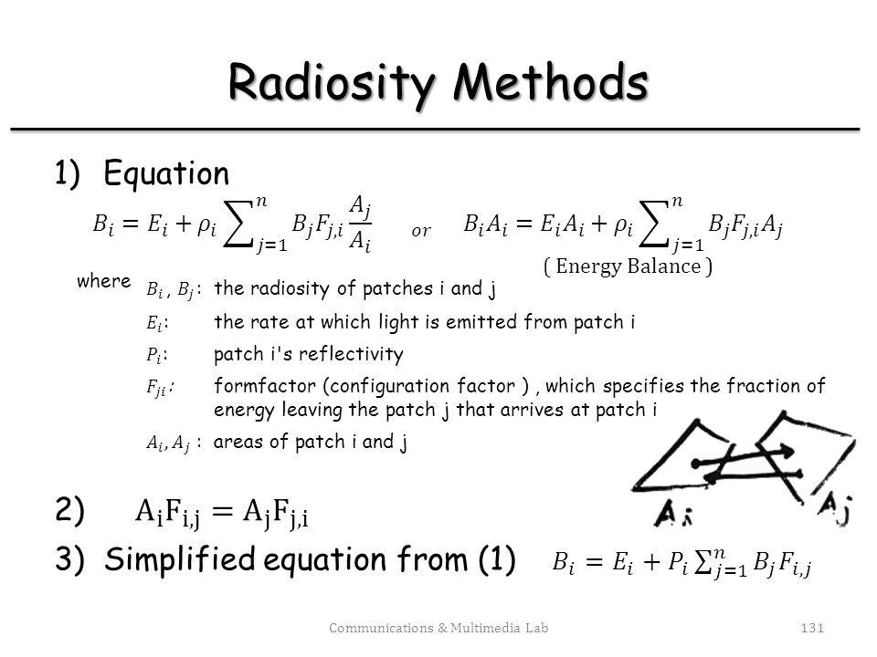 2.1 Gathering vs. shooting Communications & Multimedia Lab132 Reconsider the equation