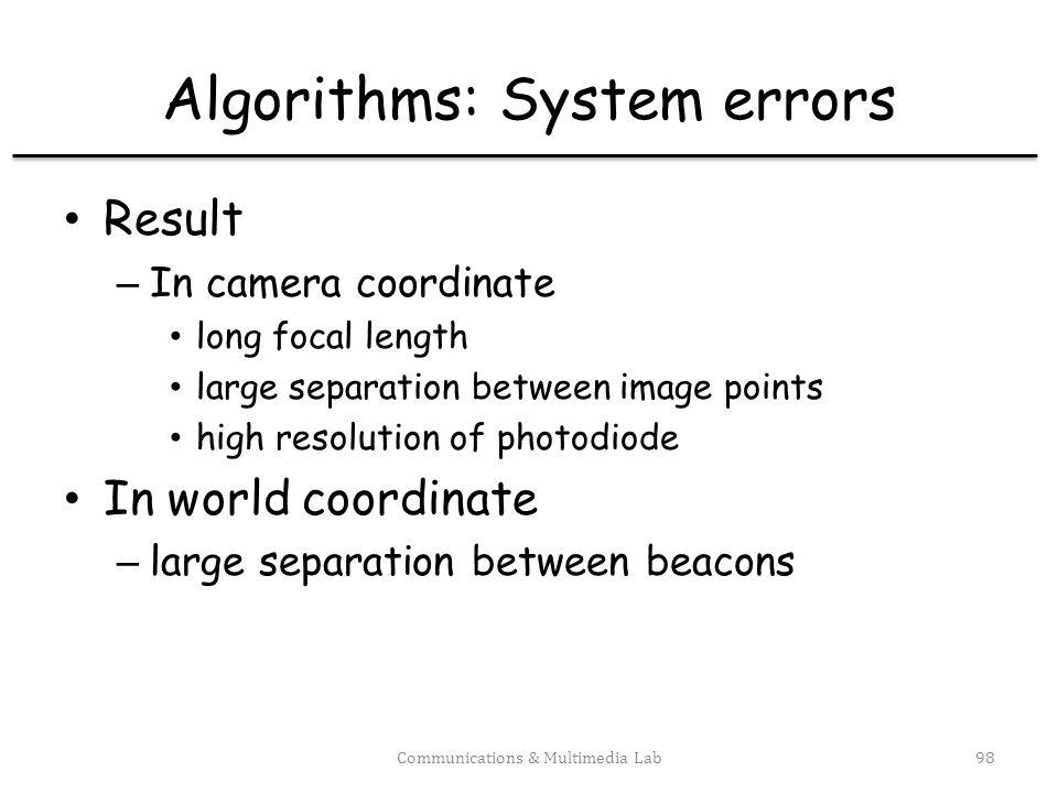 Algorithms: Multiple views Communications & Multimedia Lab99