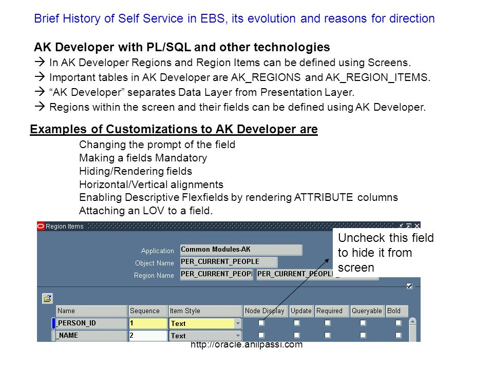 http://oracle.anilpassi.com Brief History of Self Service in EBS, its evolution and reasons for direction AK Developer with PL/SQL and other technologies In AK Developer Regions and Region Items can be defined using Screens.