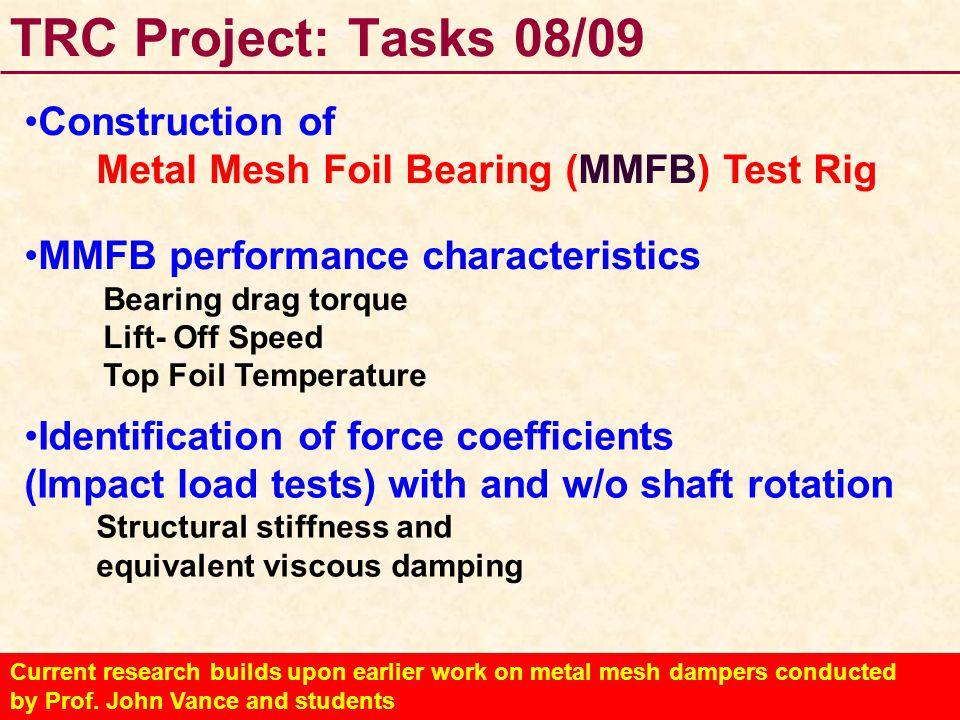 TRC Project: Tasks 08/09 Construction of Metal Mesh Foil Bearing (MMFB) Test Rig MMFB performance characteristics Bearing drag torque Lift- Off Speed