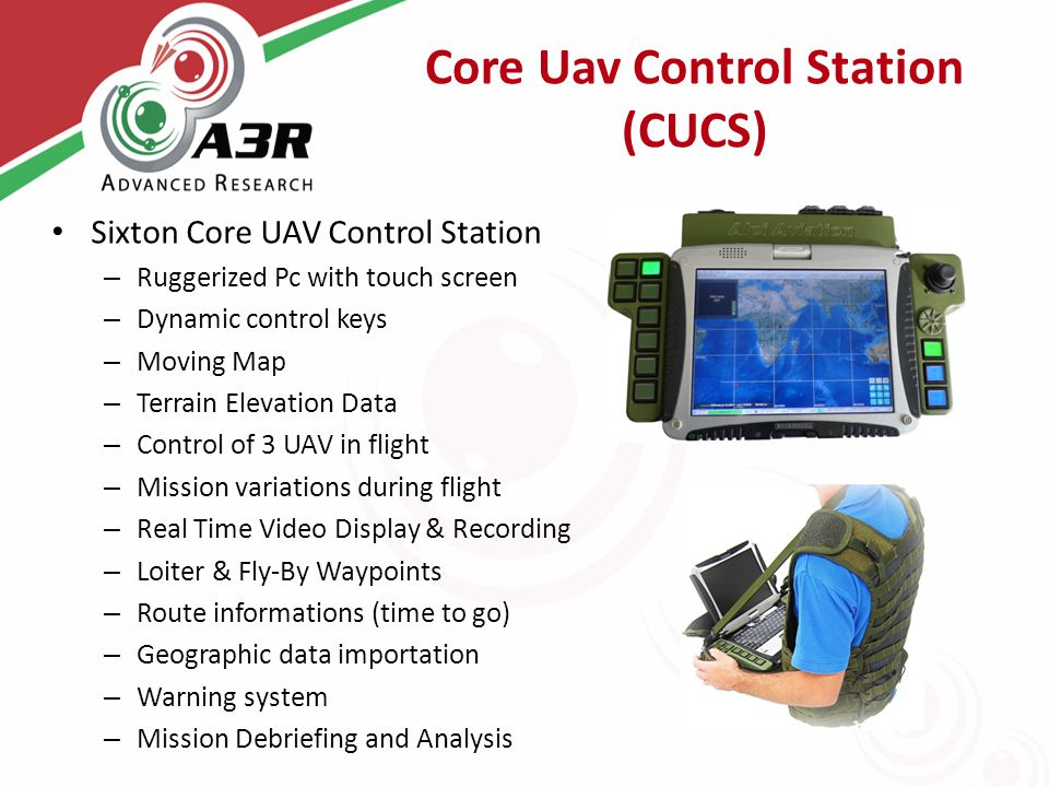 Core Uav Control Station (CUCS) Sixton Core UAV Control Station – Ruggerized Pc with touch screen – Dynamic control keys – Moving Map – Terrain Elevat