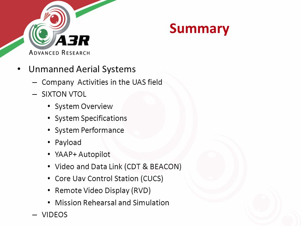 Summary Unmanned Aerial Systems – Company Activities in the UAS field – SIXTON VTOL System Overview System Specifications System Performance Payload Y