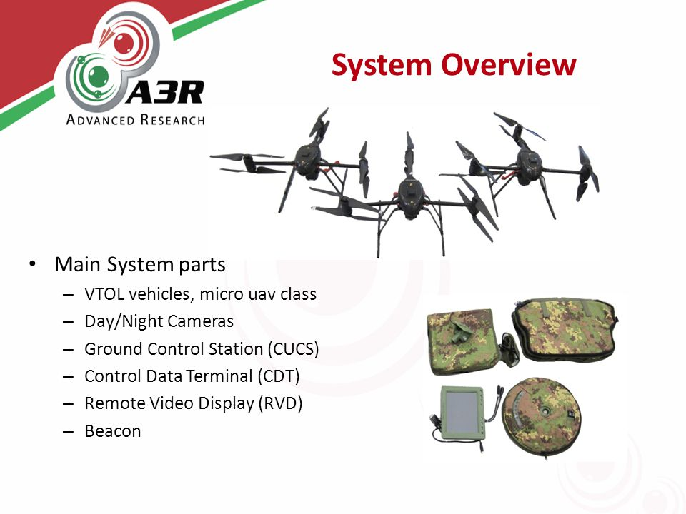 System Overview Main System parts – VTOL vehicles, micro uav class – Day/Night Cameras – Ground Control Station (CUCS) – Control Data Terminal (CDT) – Remote Video Display (RVD) – Beacon