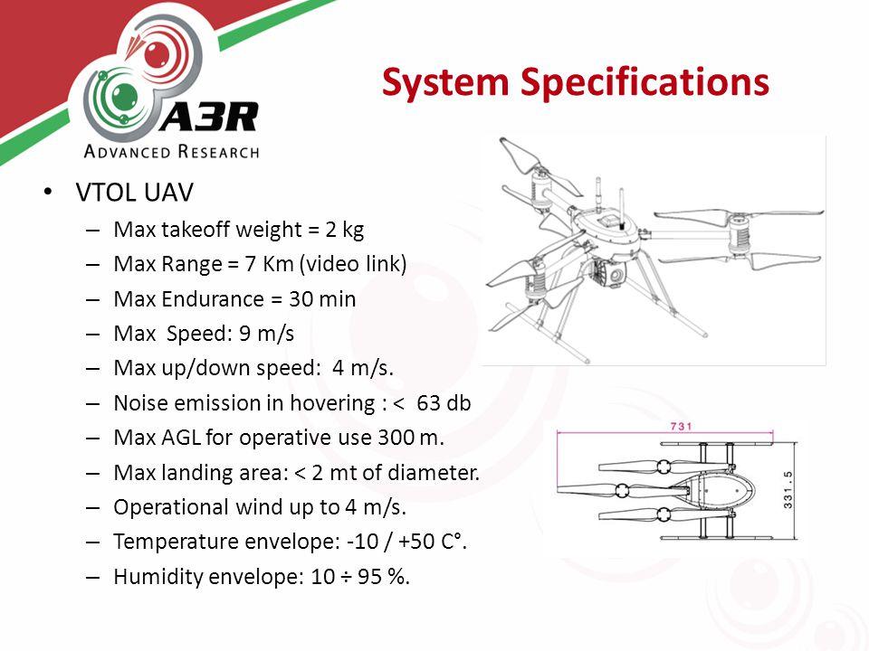 System Specifications VTOL UAV – Max takeoff weight = 2 kg – Max Range = 7 Km (video link) – Max Endurance = 30 min – Max Speed: 9 m/s – Max up/down s