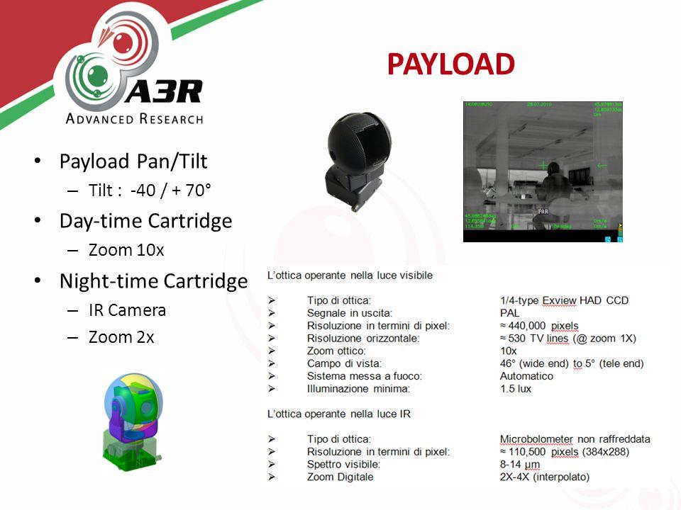 PAYLOAD Payload Pan/Tilt – Tilt : -40 / + 70° Day-time Cartridge – Zoom 10x Night-time Cartridge – IR Camera – Zoom 2x