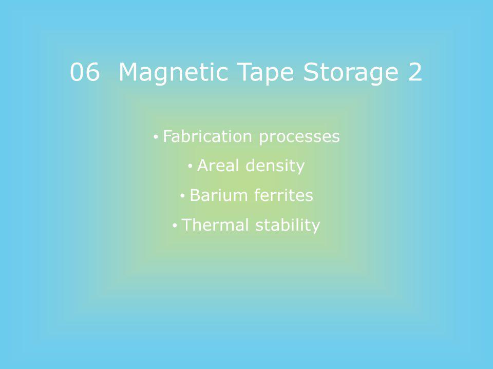 06 Magnetic Tape Storage 2 Fabrication processes Areal density Barium ferrites Thermal stability