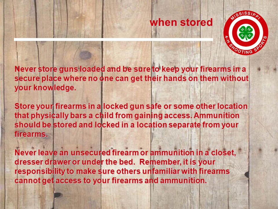 when being carried when being carried Let common sense rule when you carry a loaded gun.