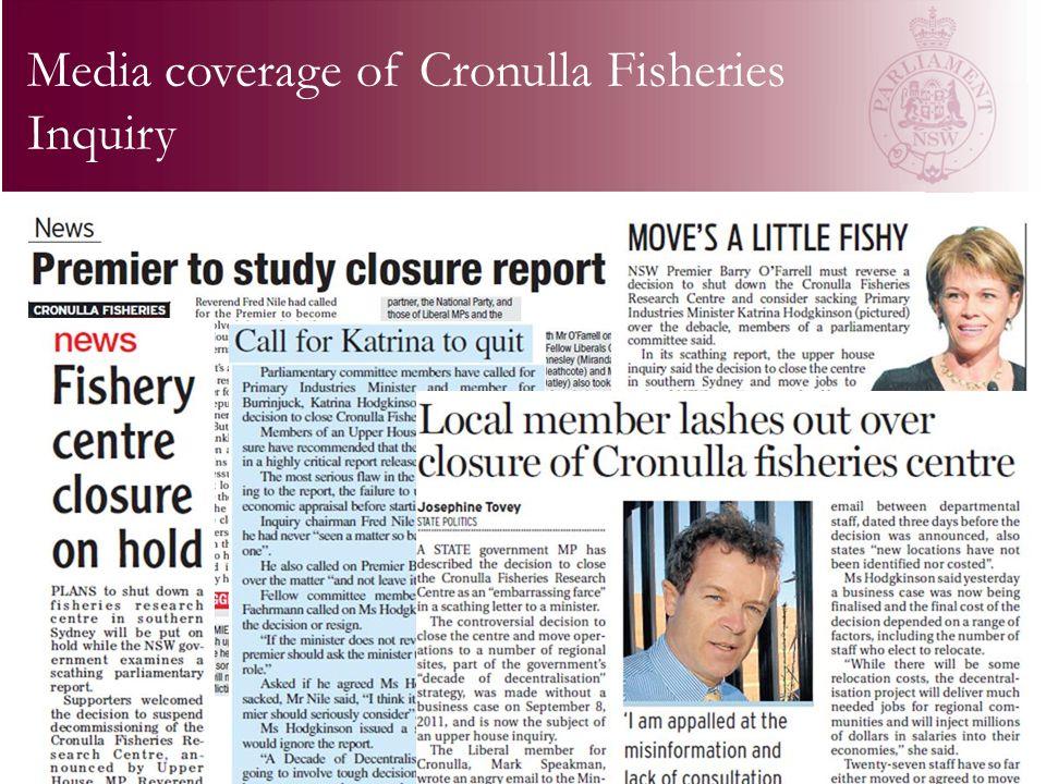 Media coverage of Cronulla Fisheries Inquiry