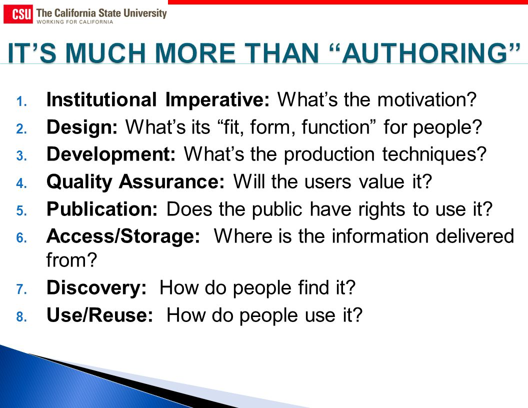 1. Institutional Imperative: Whats the motivation.