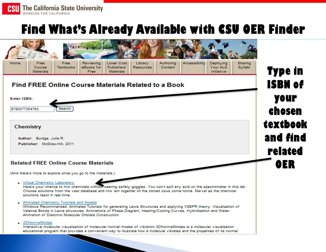 Find Whats Already Available with CSU OER Finder Type in ISBN of your chosen textbook and find related OER