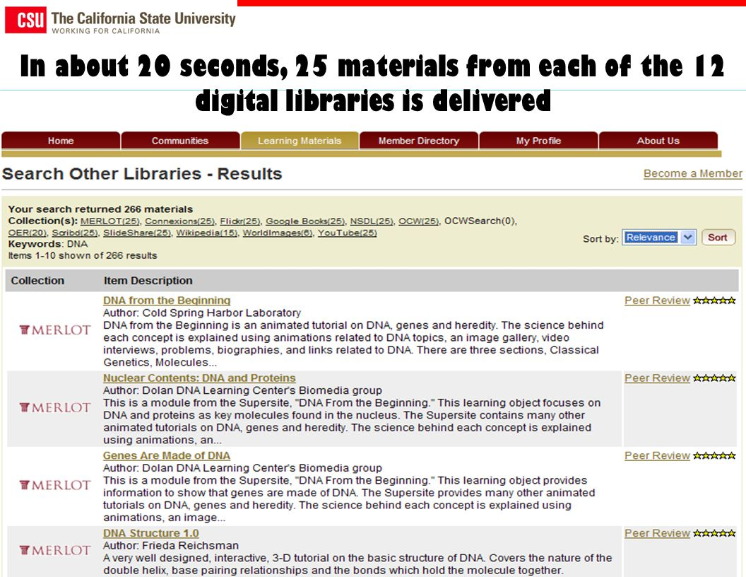 In about 20 seconds, 25 materials from each of the 12 digital libraries is delivered