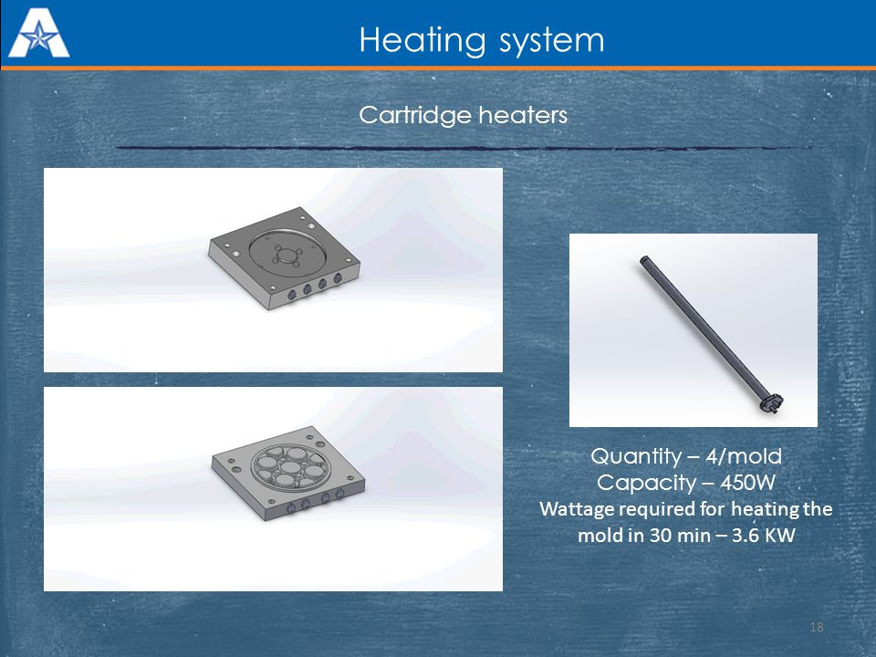 Heating system 18 Cartridge heaters Quantity – 4/mold Capacity – 450W Wattage required for heating the mold in 30 min – 3.6 KW