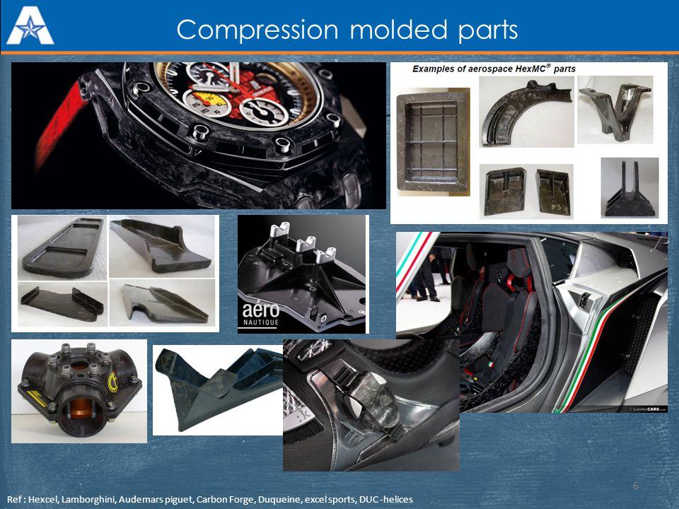 Compression molded parts Ref : Hexcel, Lamborghini, Audemars piguet, Carbon Forge, Duqueine, excel sports, DUC -helices 6