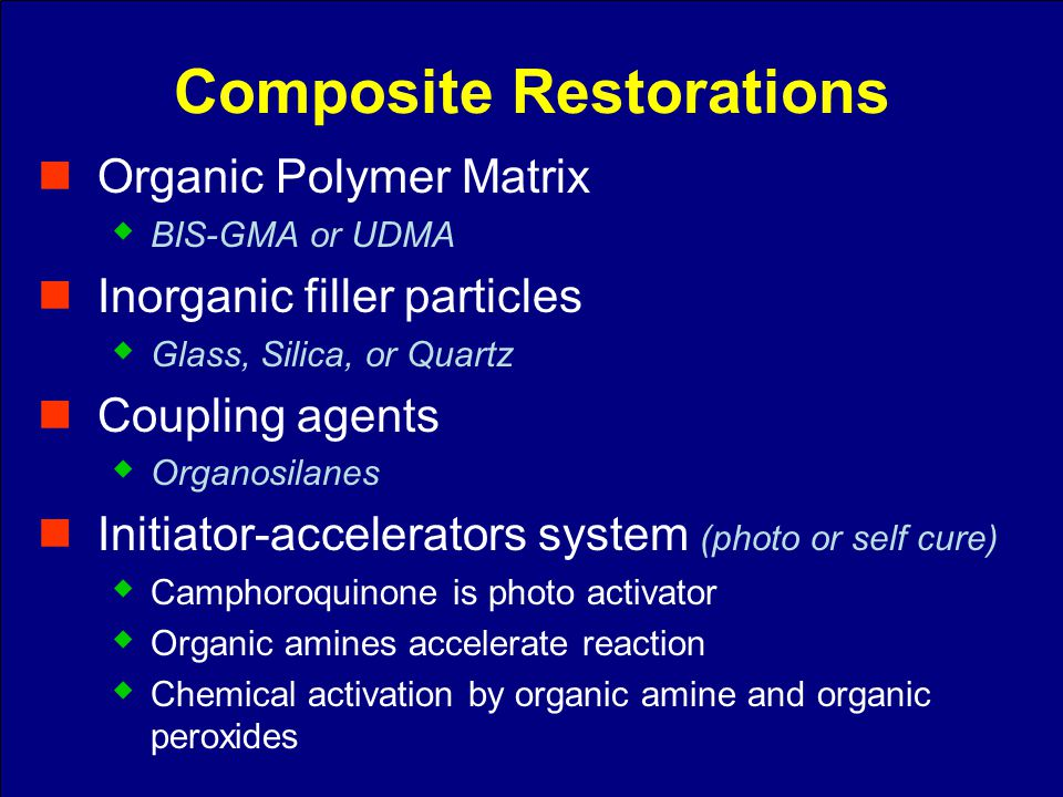 Organic Polymer Matrix BIS-GMA or UDMA Inorganic filler particles Glass, Silica, or Quartz Coupling agents Organosilanes Initiator-accelerators system
