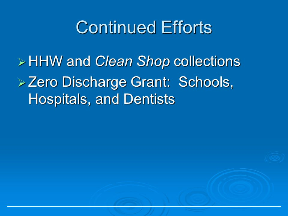 Continued Efforts HHW and Clean Shop collections HHW and Clean Shop collections Zero Discharge Grant: Schools, Hospitals, and Dentists Zero Discharge