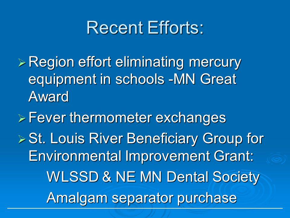 Recent Efforts: Region effort eliminating mercury equipment in schools -MN Great Award Region effort eliminating mercury equipment in schools -MN Great Award Fever thermometer exchanges Fever thermometer exchanges St.
