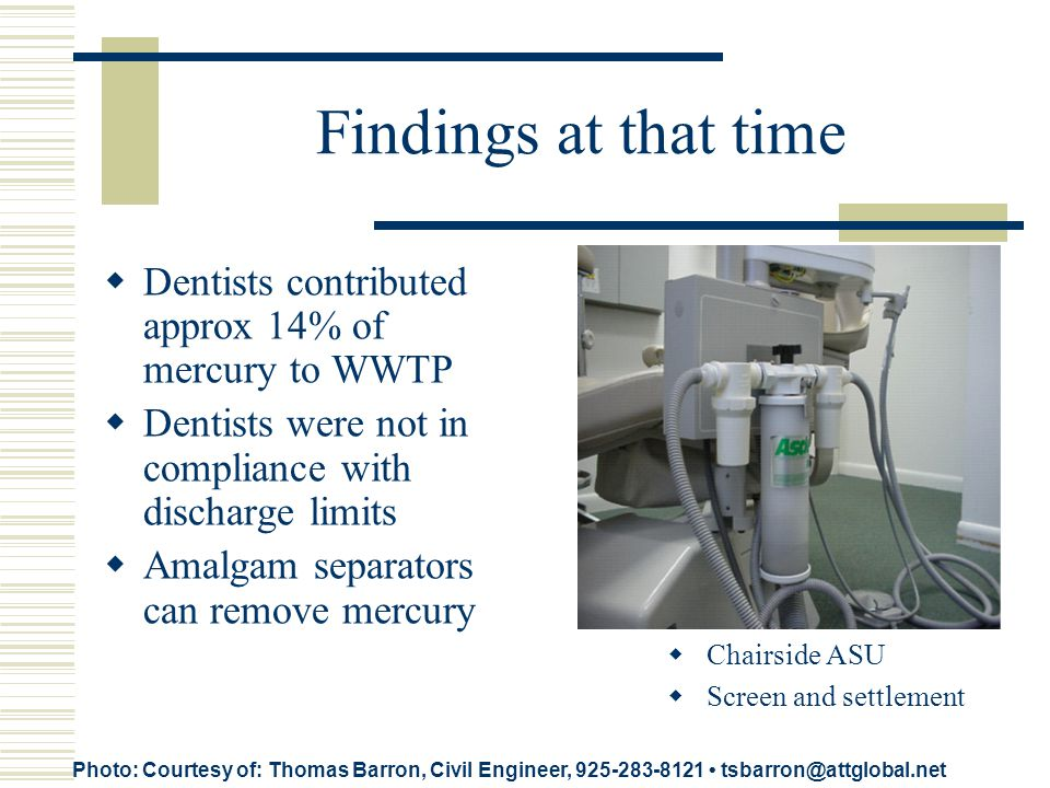 Findings at that time Dentists contributed approx 14% of mercury to WWTP Dentists were not in compliance with discharge limits Amalgam separators can