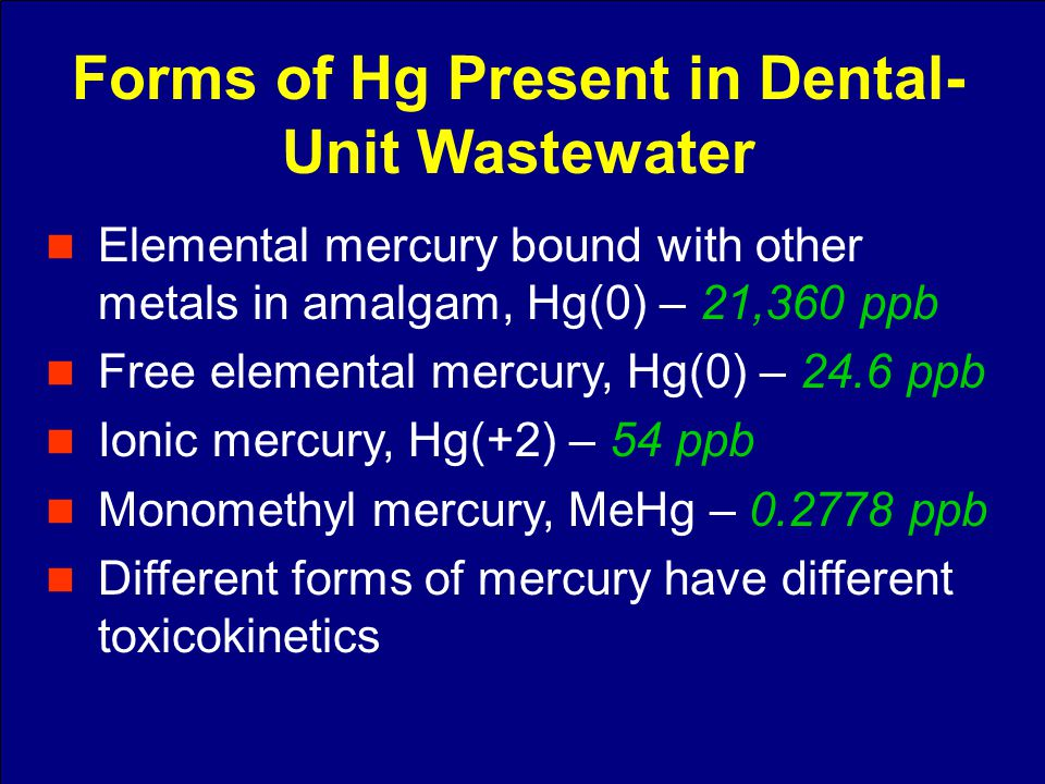 Elemental mercury bound with other metals in amalgam, Hg(0) – 21,360 ppb Free elemental mercury, Hg(0) – 24.6 ppb Ionic mercury, Hg(+2) – 54 ppb Monom