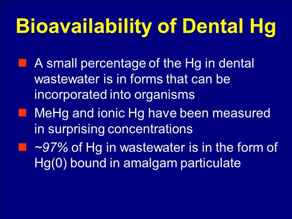 Species of Hg in Effluent DateTotal Mercury ng/L Dissolved Mercury ng/L Methyl Mercury ng/L 4/16/20042.01.40.07 7/23/20041.81.20.10 9/16/20044.11.90.12