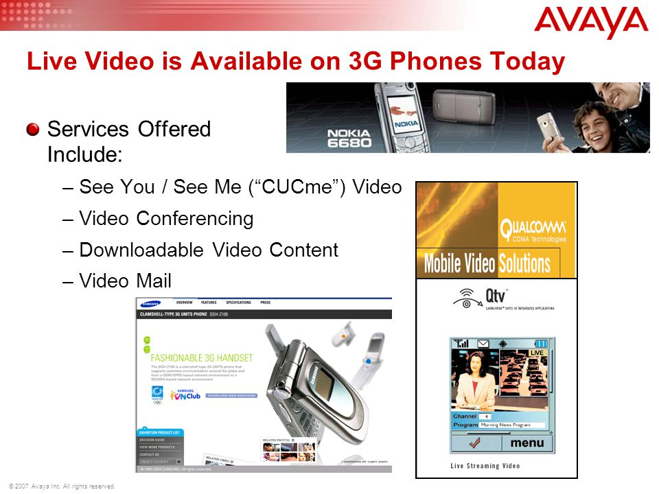 © 2007 Avaya Inc. All rights reserved. Live Video is Available on 3G Phones Today Services Offered Include: –See You / See Me (CUCme) Video –Video Con