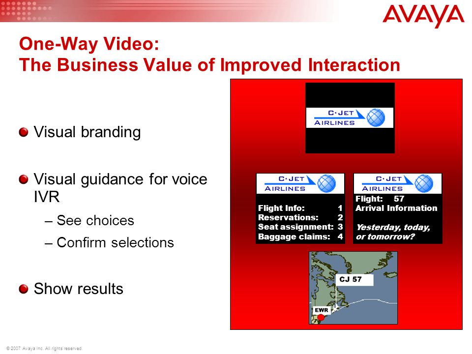 © 2007 Avaya Inc. All rights reserved. One-Way Video: The Business Value of Improved Interaction Visual branding Visual guidance for voice IVR –See ch